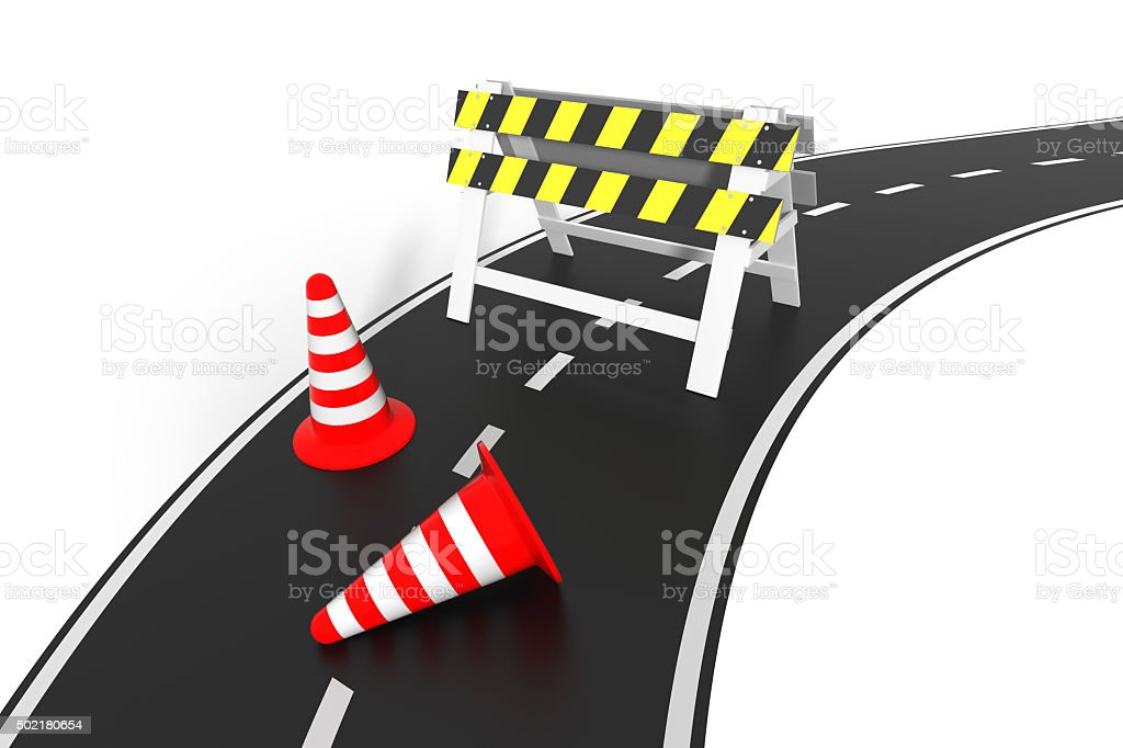 Under construction concept. 3D barrier on the road. stock photo