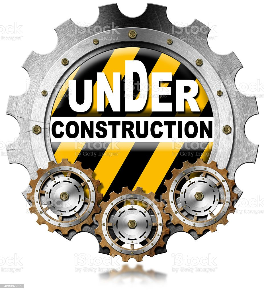 Under Construction - Metal Icon with Gears stock photo