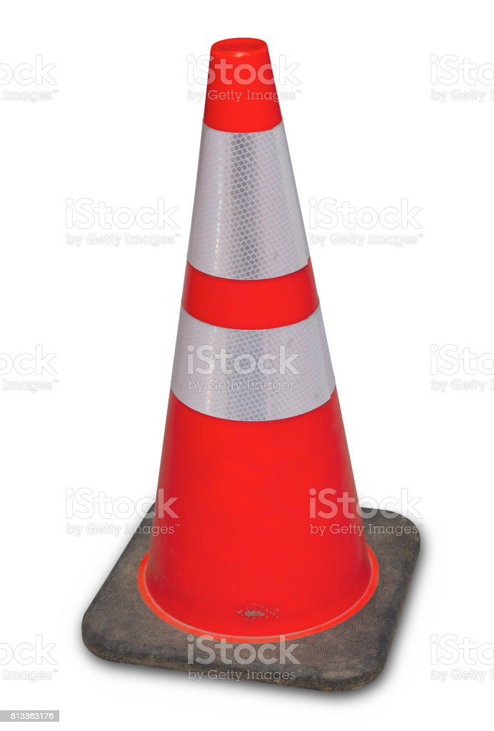 under construction orange traffic cone isolated white background stock photo