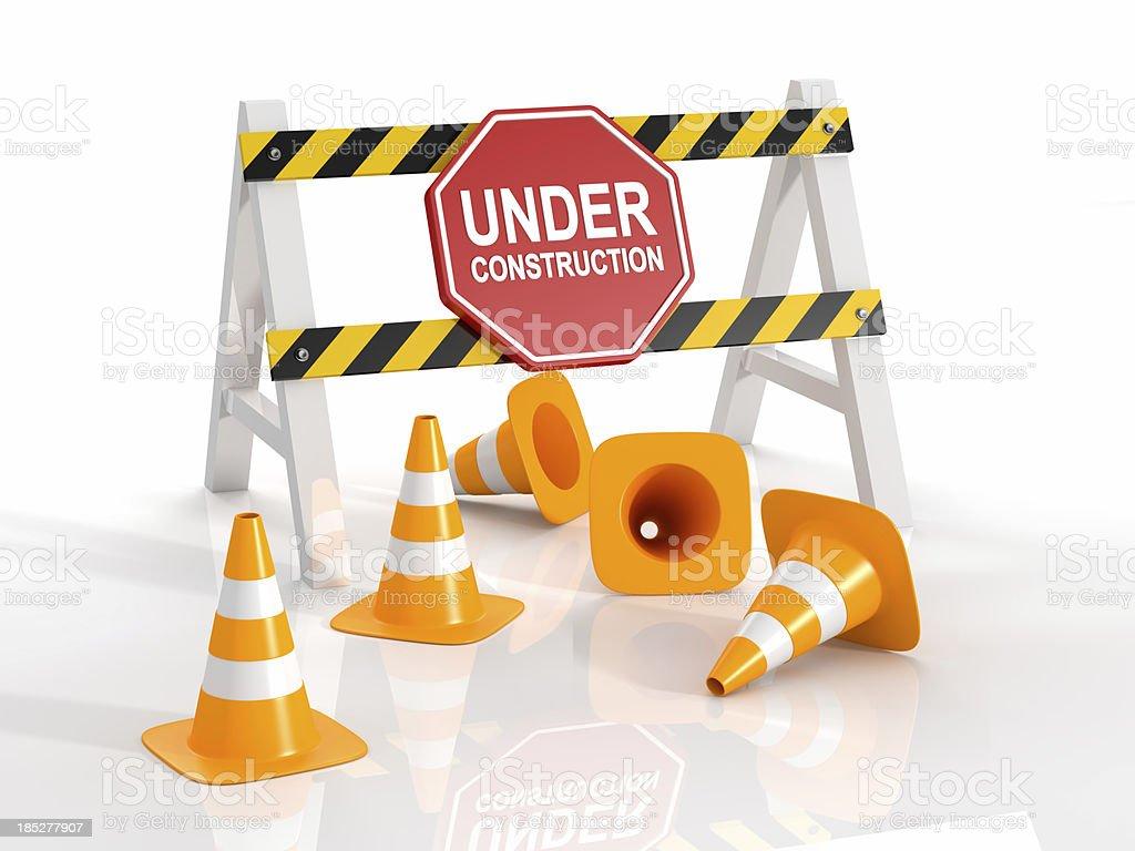 Under Construction Roadblock stock photo