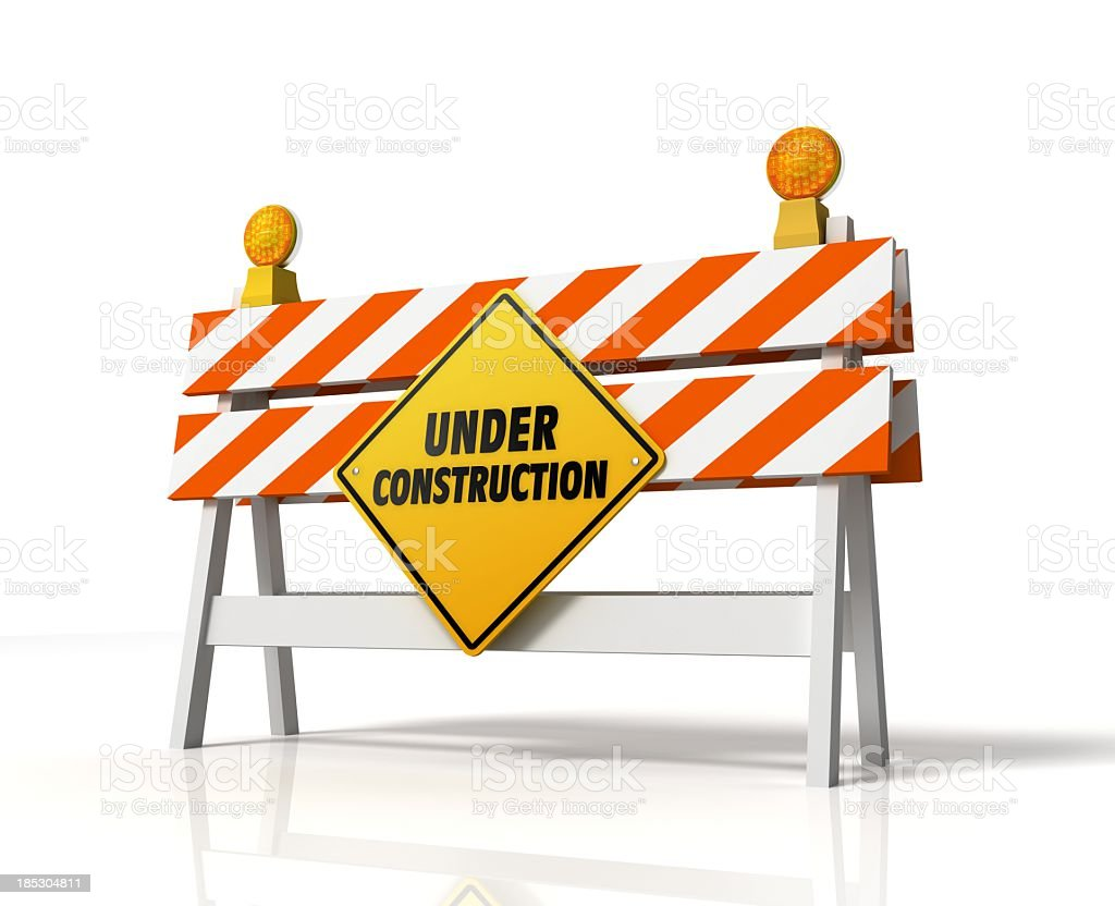 Under construction sign on a white background stock photo