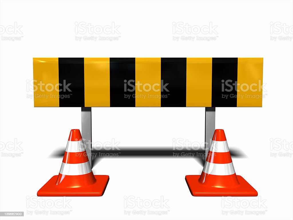 under construction - traffic warning with traffic cones royalty-free stock photo