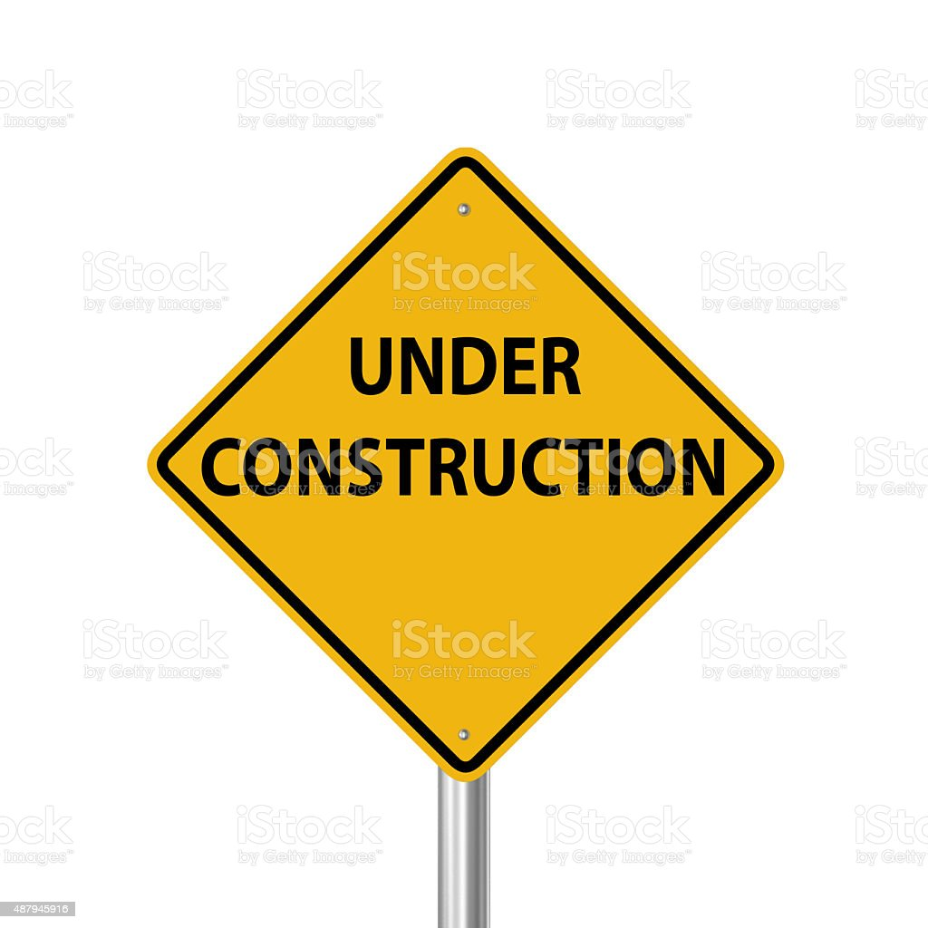 Under construction warning sign stock photo