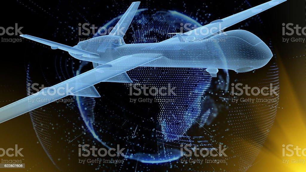 UAV under digital earth stock photo