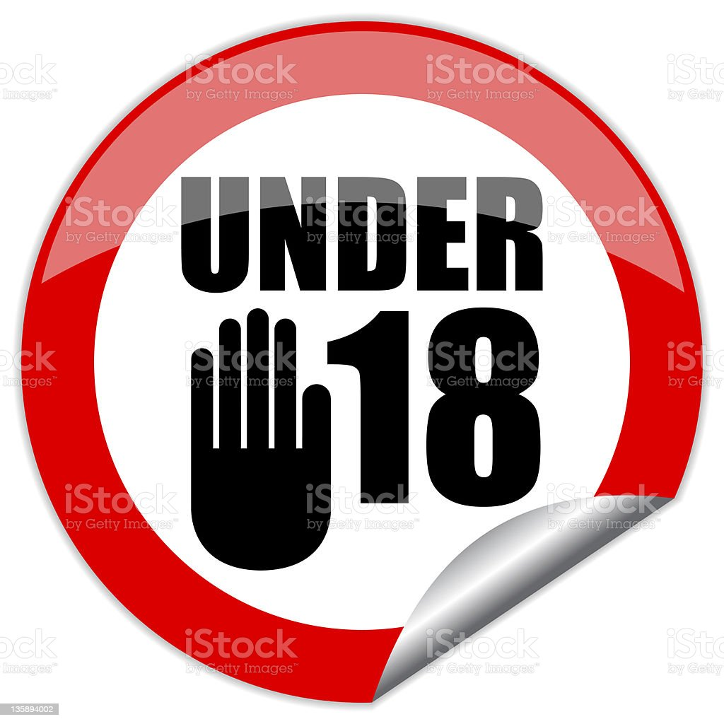 Under eighteen sign stock photo