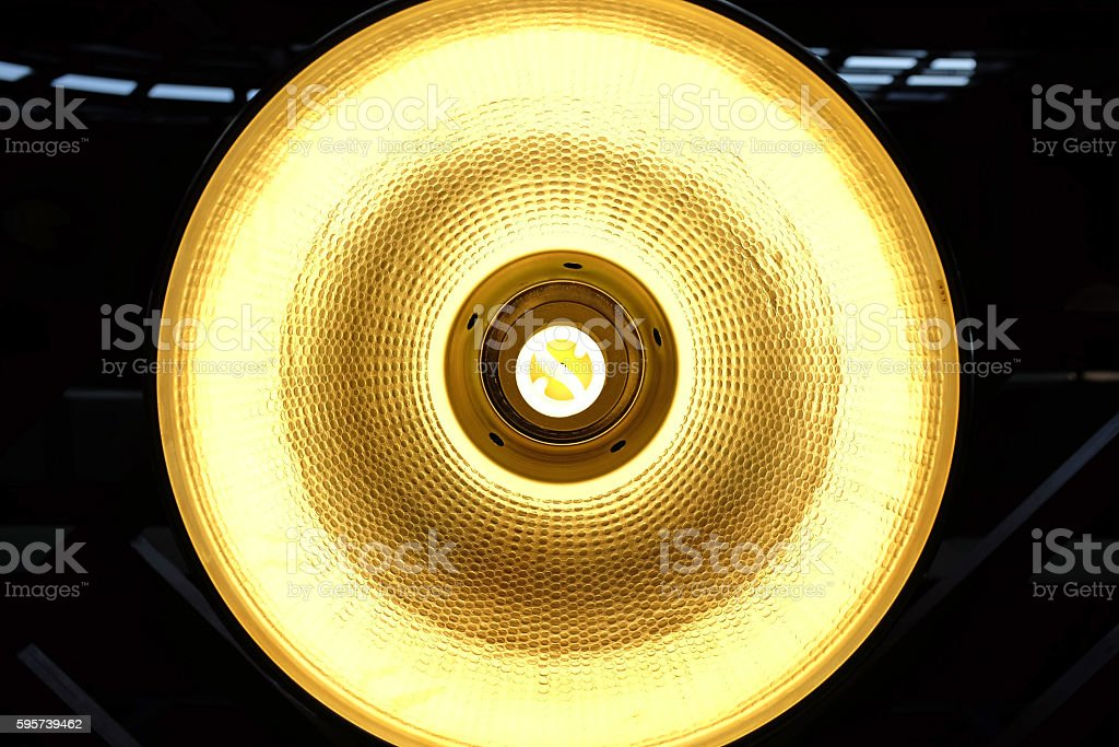 Under lamp hanging of ceiling warehouse stock photo