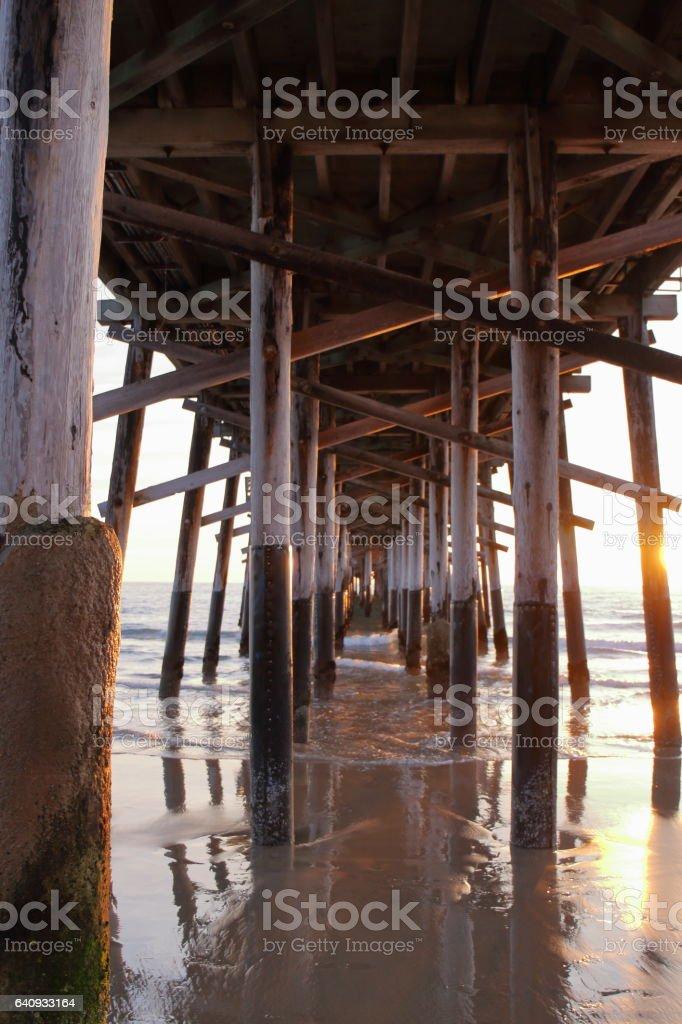 Under Newport Beach Pier - USA stock photo