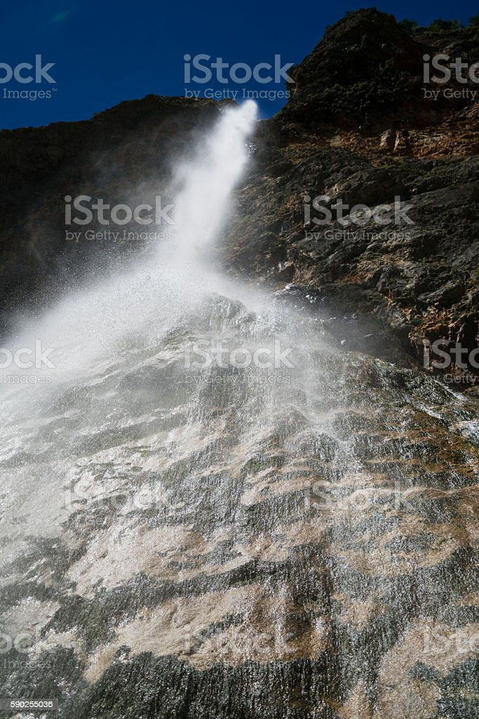 Under Rinka Waterfall at the end of Logar Valley,  Slovenia stock photo