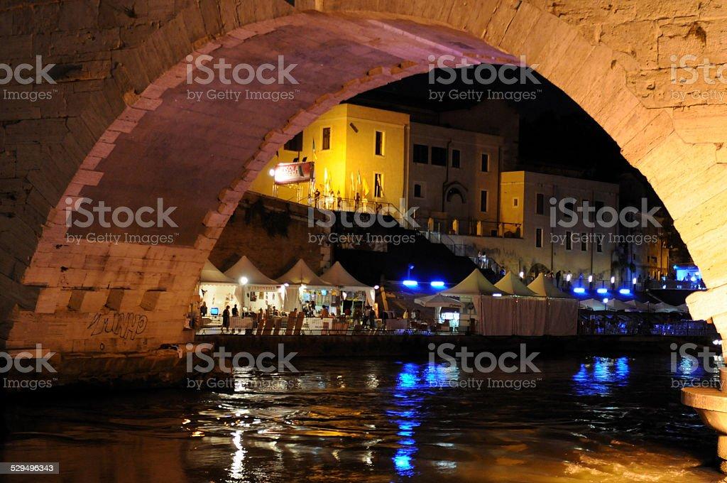 under the bridge of the Tiber stock photo