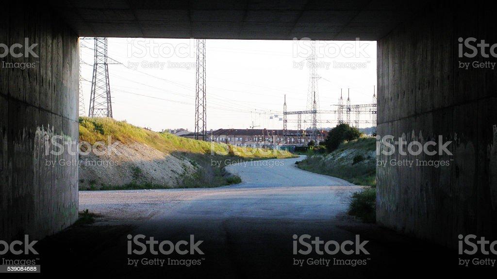 Under the bridge. stock photo