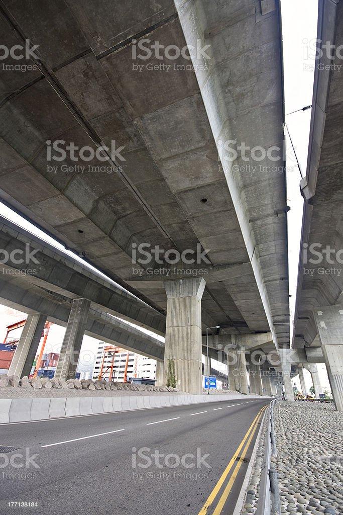 Under the bridge. Urban scene royalty-free stock photo