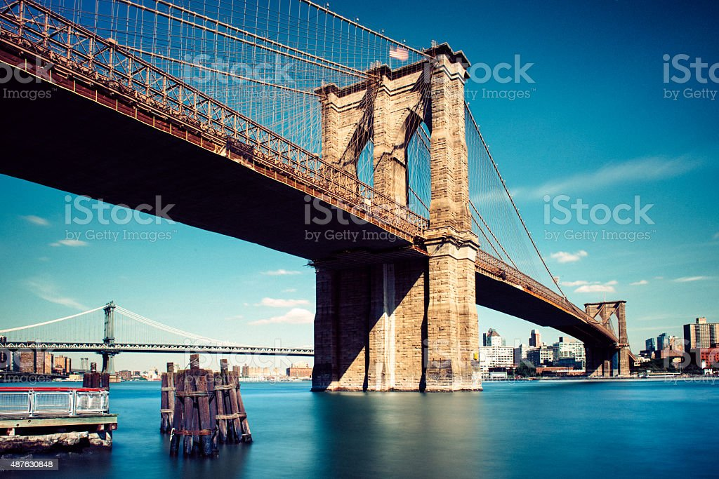 Under the Brooklyn Bridge in New York City stock photo