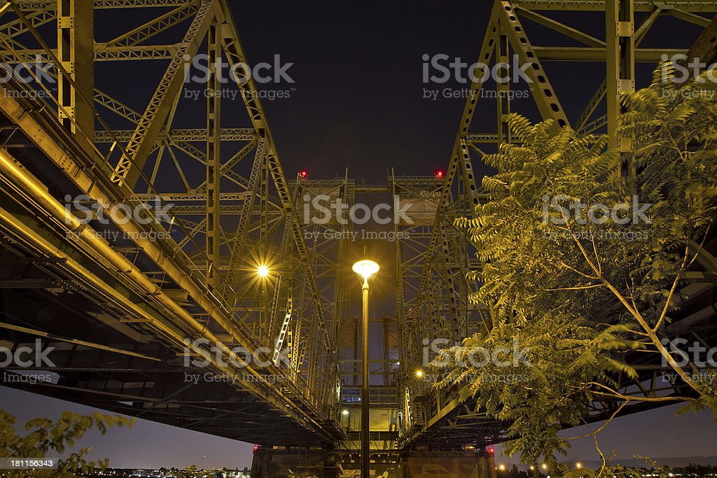 Under the Columbia River Crossing Interstate Bridge royalty-free stock photo