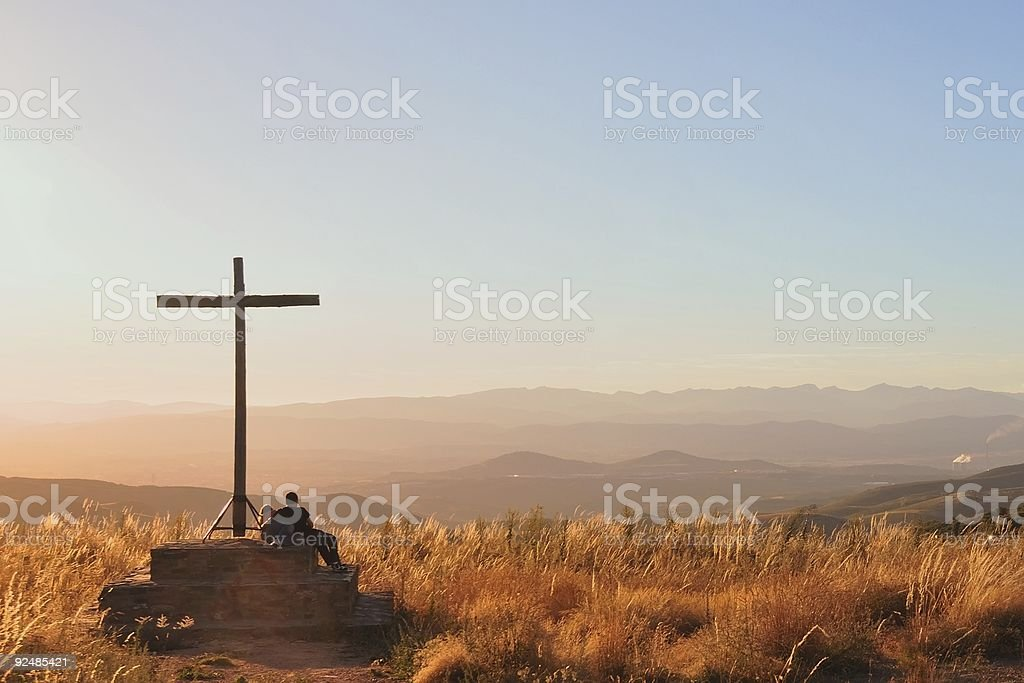 under the Cross, looking at panorama royalty-free stock photo