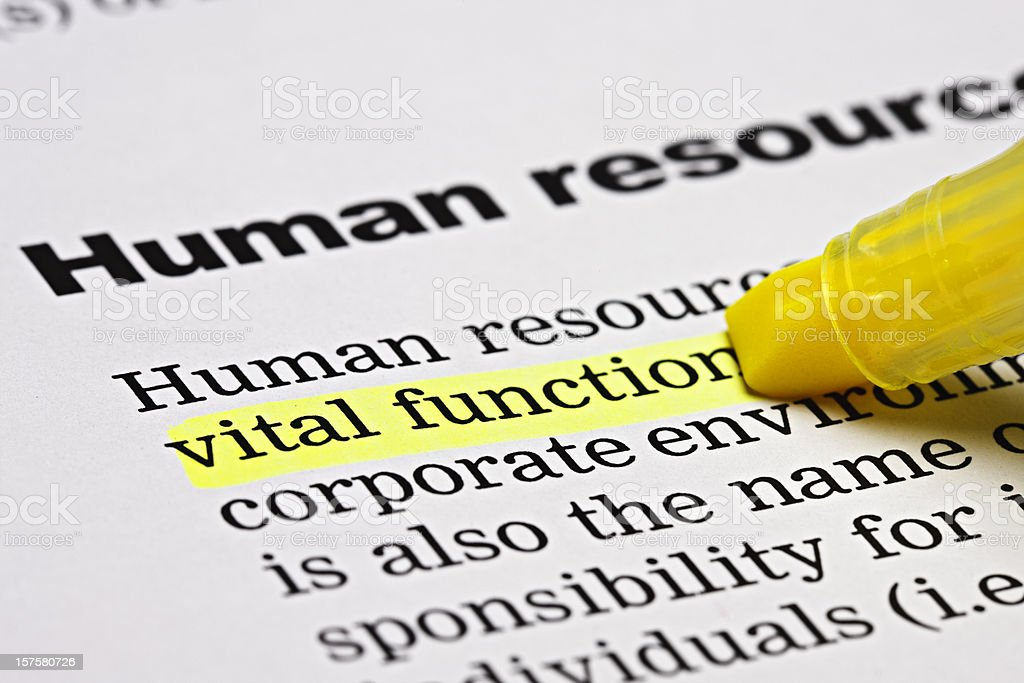 Under the heading 'Human resources',  'vital function' is highlighted royalty-free stock photo
