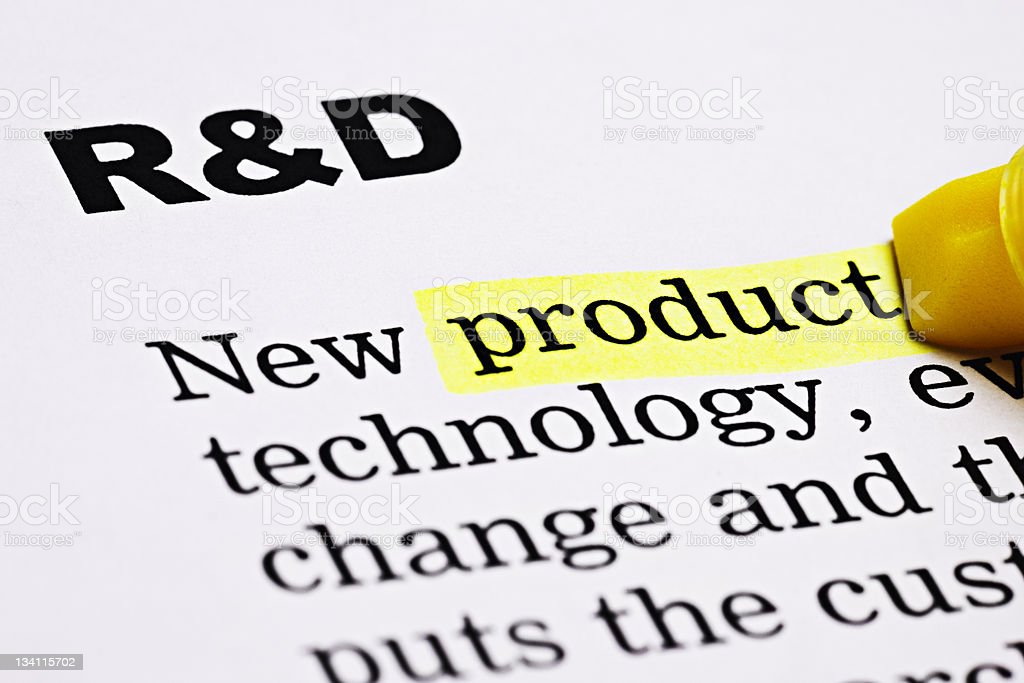 Under the heading 'R&D', yellow marker highlights 'product' stock photo