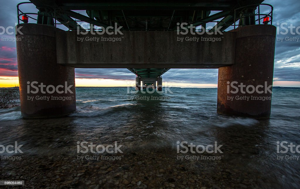 Under The Mackinaw Bridge in Michigan stock photo