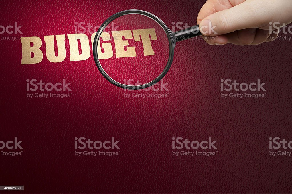 BUDGET under the magnifying glass royalty-free stock photo