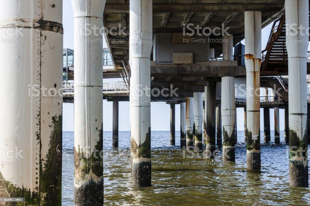 Under the pier of Scheveningen stock photo