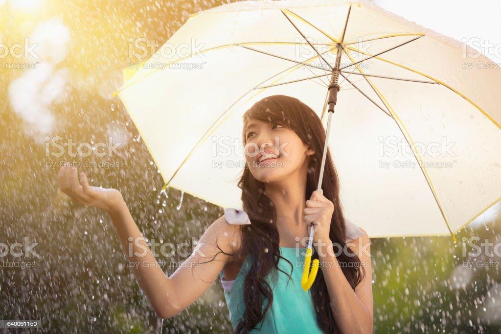 Under the rain stock photo