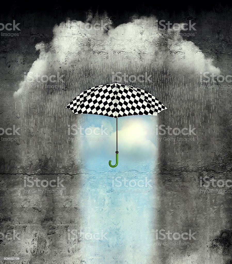 Under the umbrella the weather is wonderful stock photo