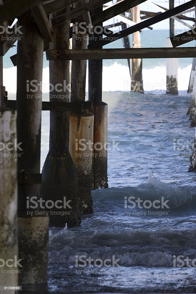 Under the wooden Pier royalty-free stock photo