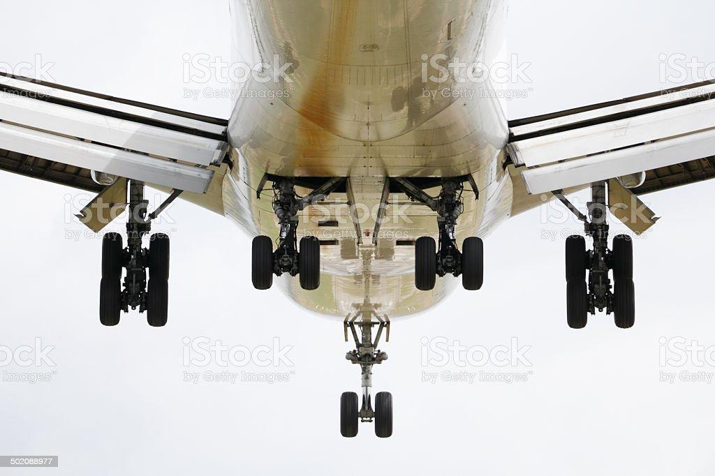 Under view jumbo jet stock photo
