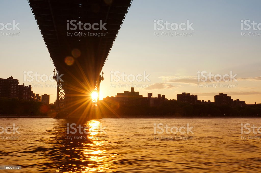 under Williamsburg Bridge from East River - NYC stock photo