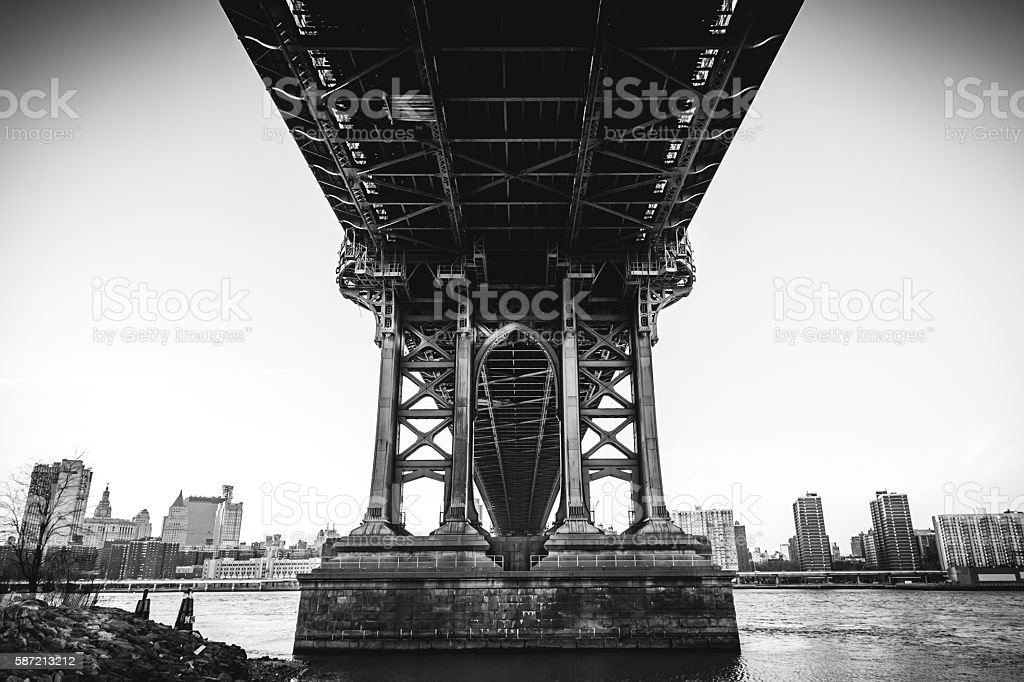 Underbelly of the Manhattan Bridge royalty-free stock photo