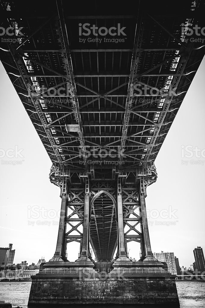 Underbelly of the Manhattan Bridge royalty-free stock photo