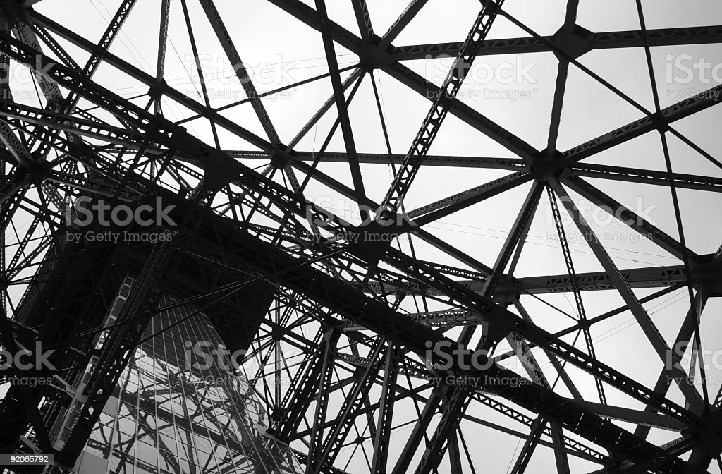 Underbelly of Tokyo Tower stock photo