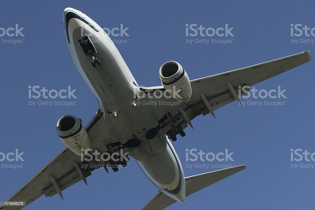 Undercarriage of an Approaching Airplane royalty-free stock photo