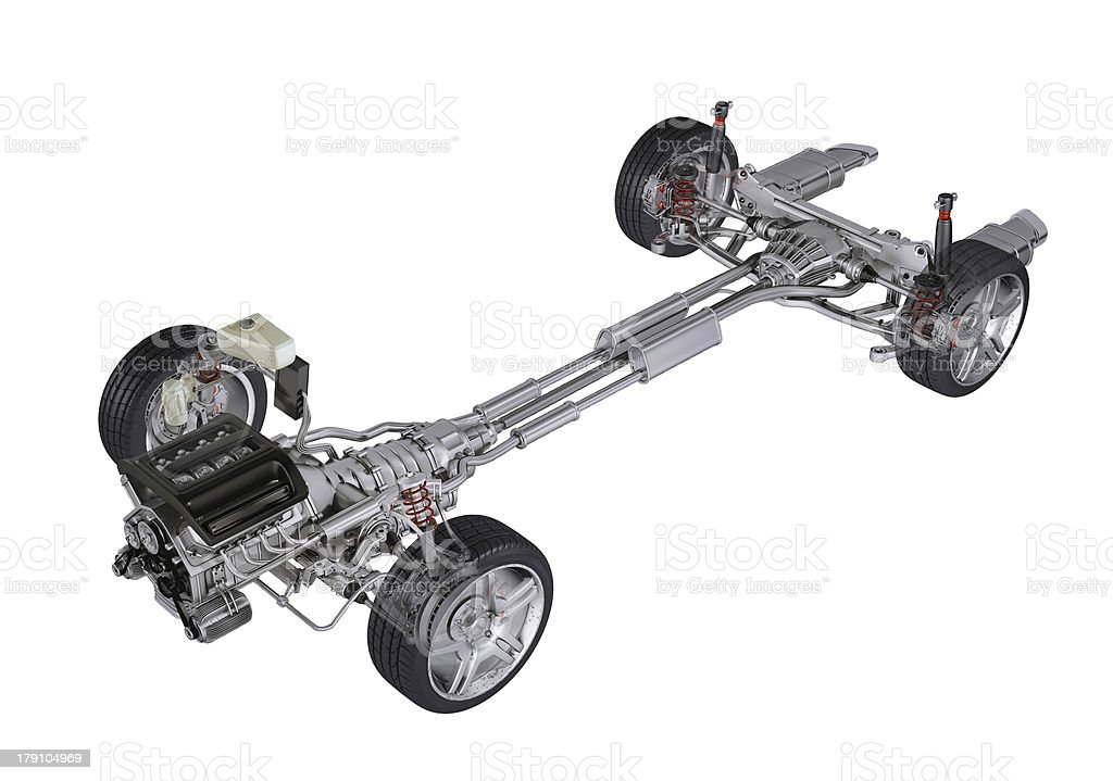 Undercarriage technical 3D rendering, of a generic sedan contemporary car. stock photo