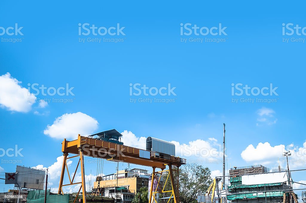 Underconstruction and clear blue sky. stock photo