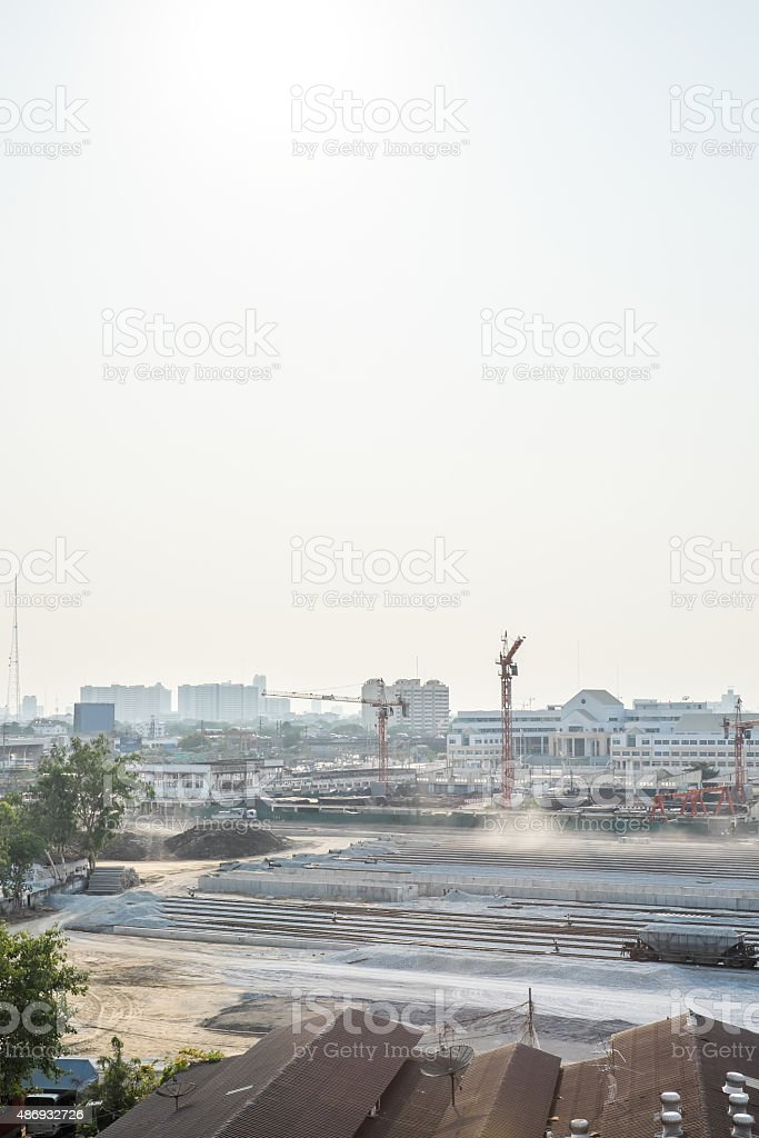 underconstruction railway with city building background stock photo
