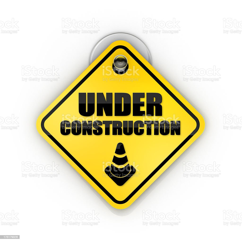 Underconstruction warning Sticky sign stock photo