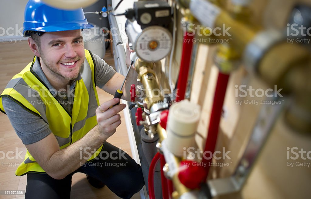 underfloor heating installation stock photo