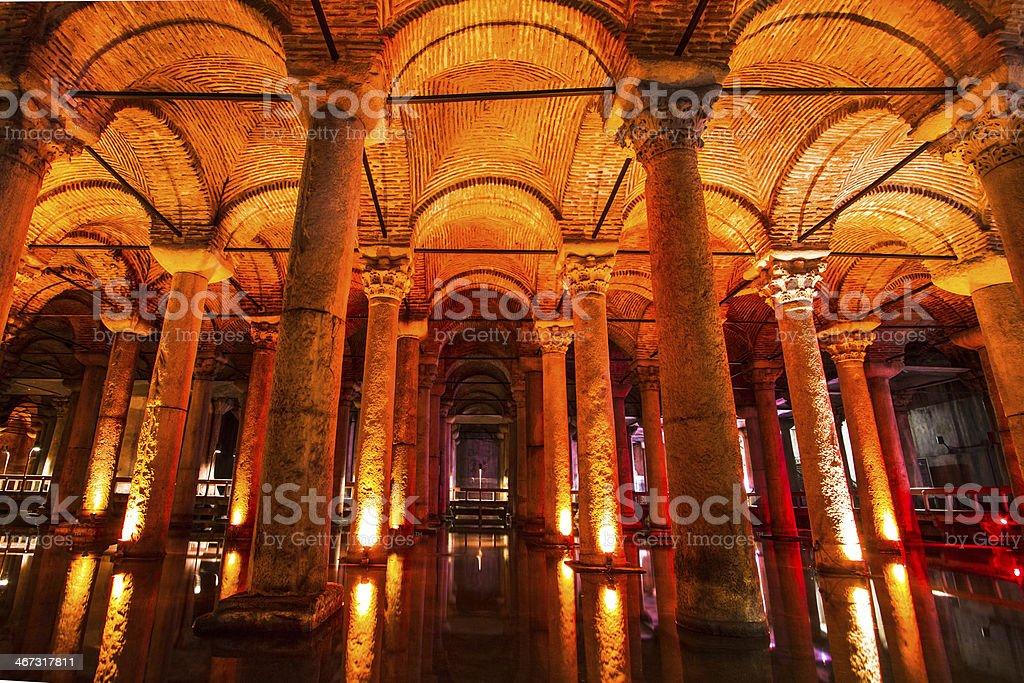 Underground Basilica Cistern, Istanbul, Turkey. stock photo