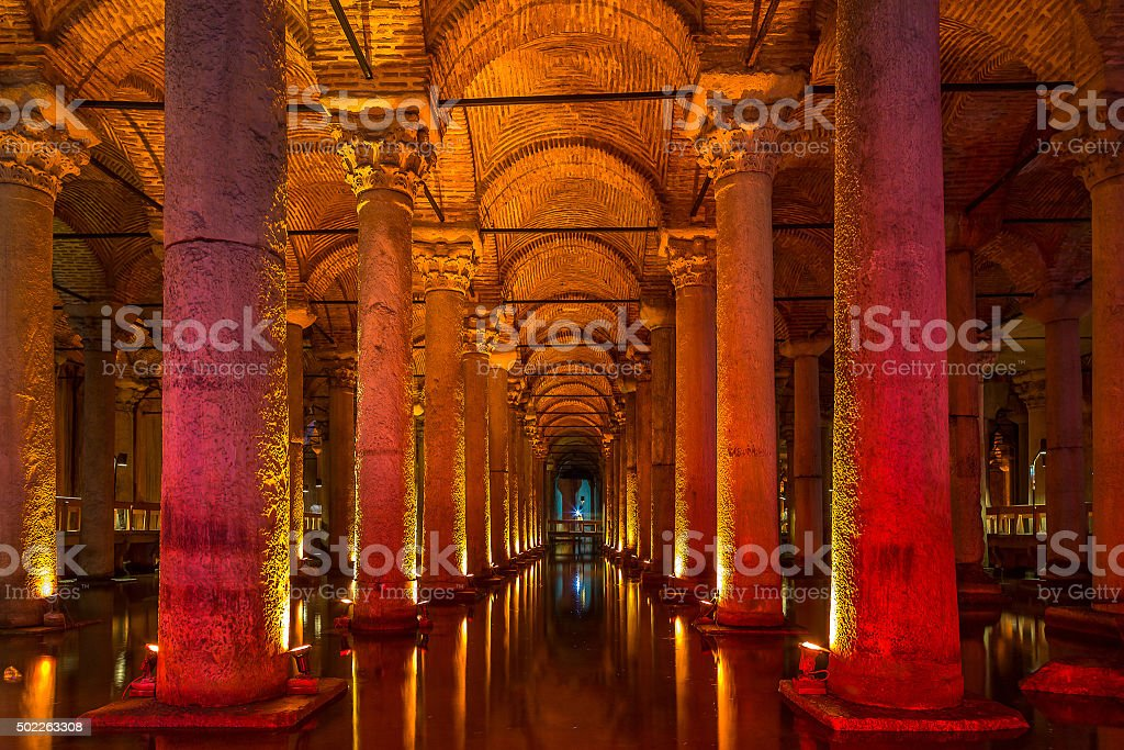 Underground Basilica Cistern, Istanbul, Turkey stock photo