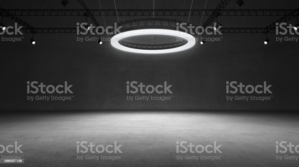 Underground black and white show room stock photo