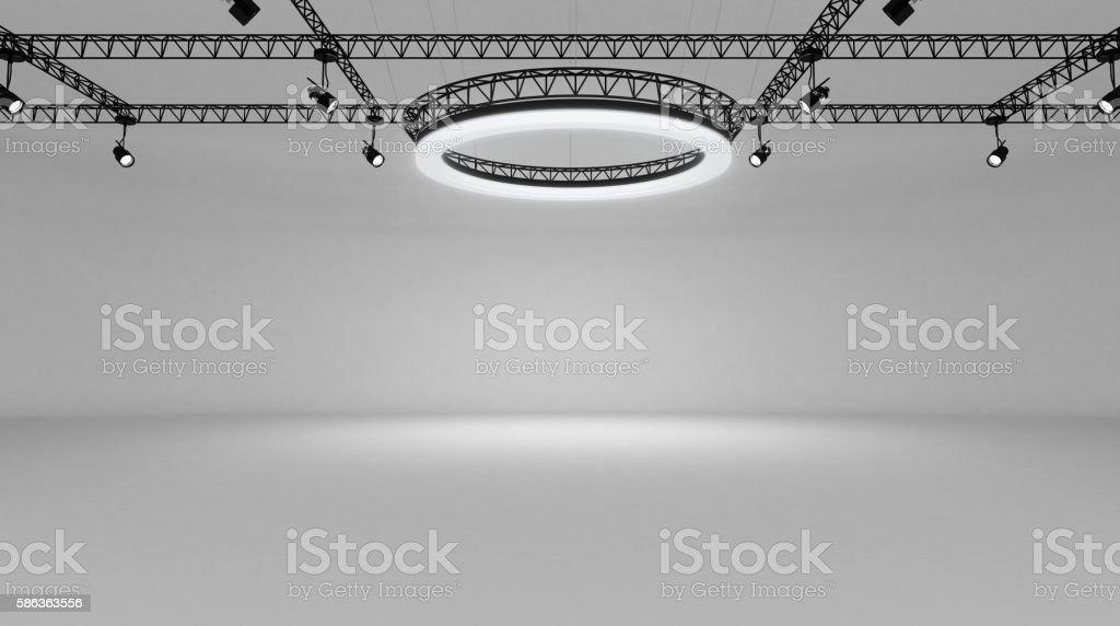 Underground black and white show room stock photo