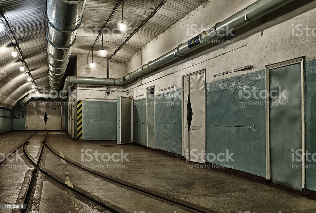 Underground bunker from cold war stock photo