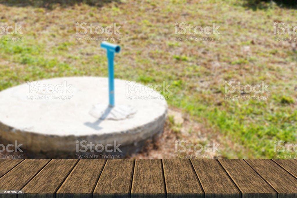 underground cement cylinder of lavatory cesspit stock photo