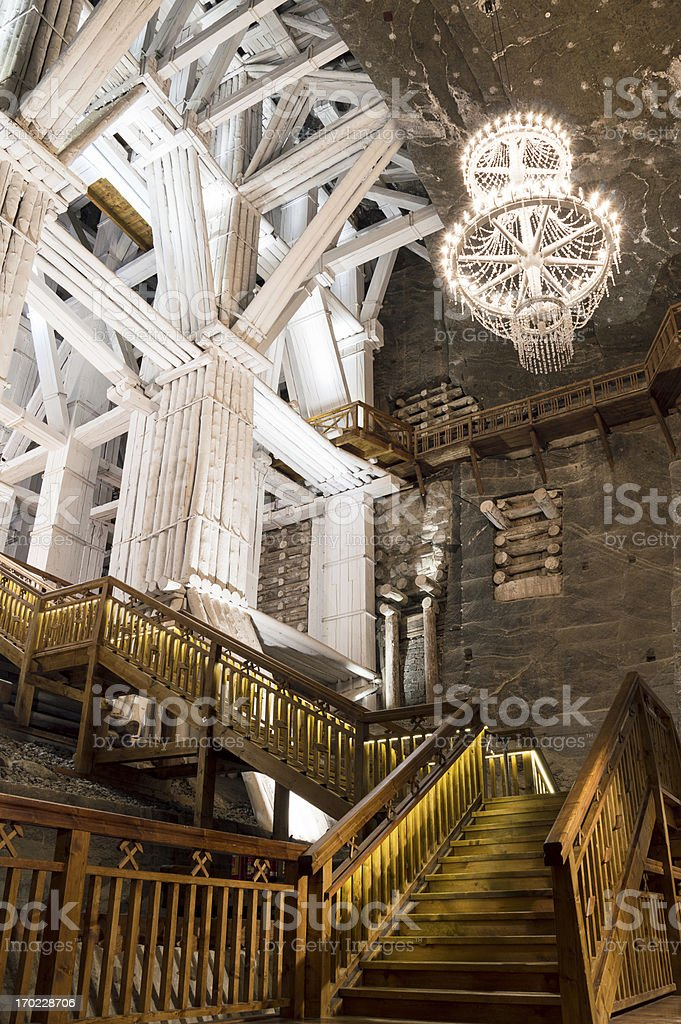 Underground Chamber in the Salt Mine, Wieliczka  stock photo