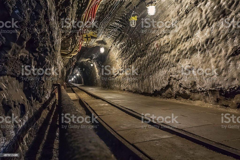 Underground corridor in the Salt Mine stock photo