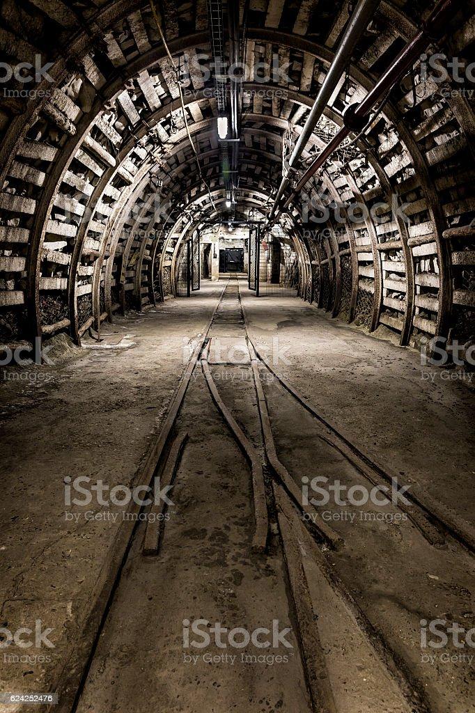 Underground corridor with steel support system stock photo