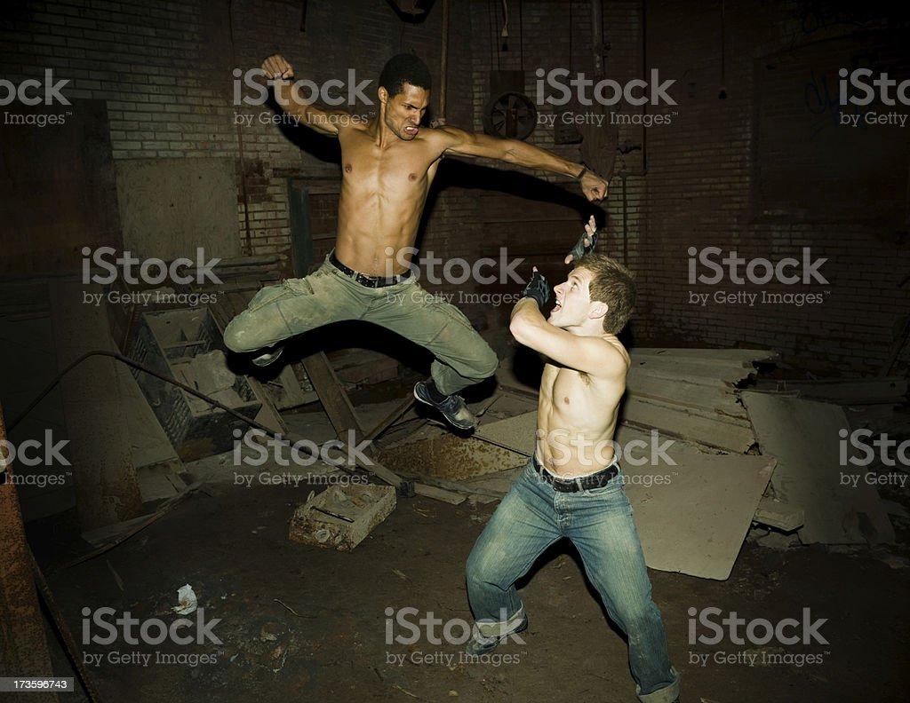 Underground fighting stock photo