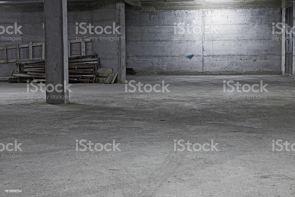 Underground garage construction stock photo