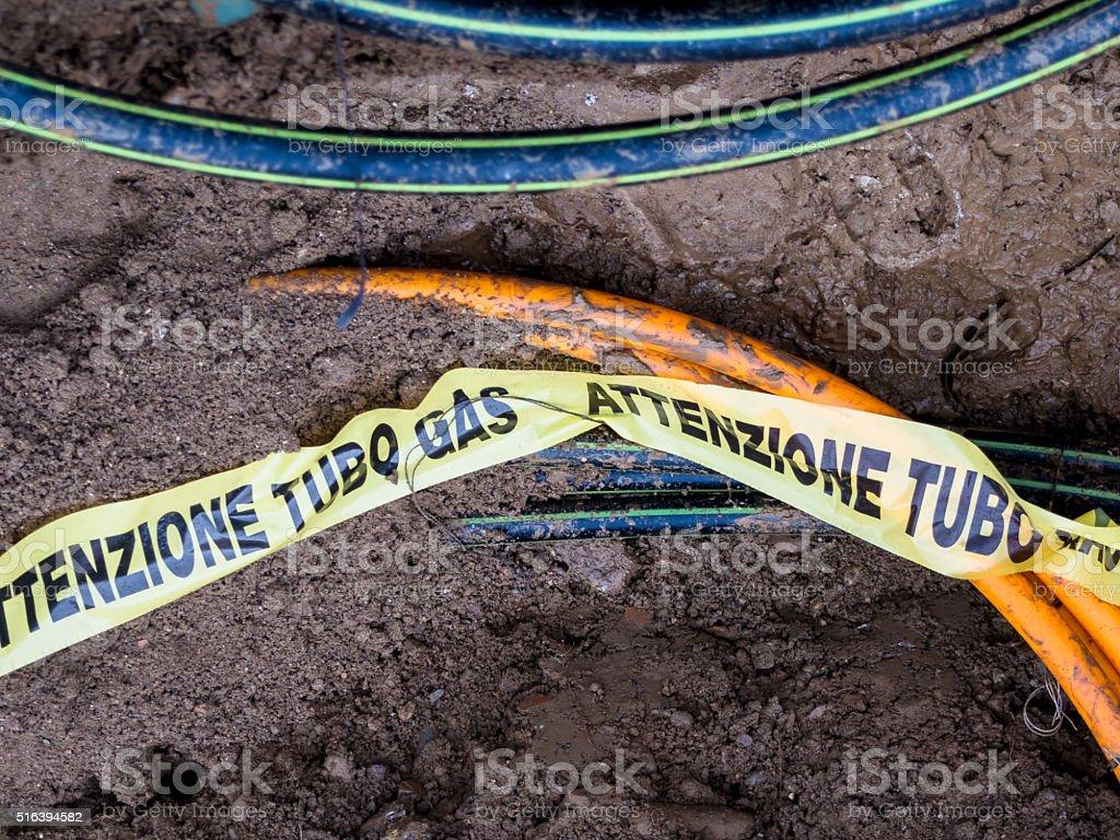 Underground gas pipeline stock photo