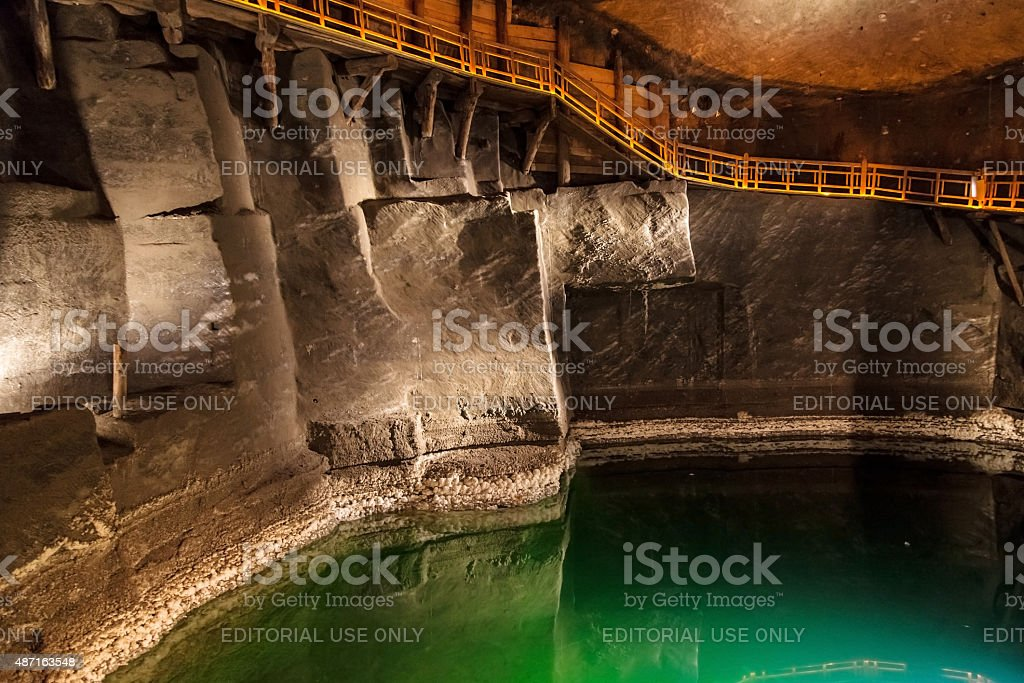 Underground lake in Wieliczka stock photo
